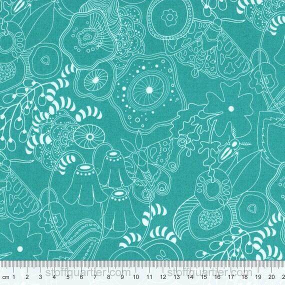 Blumen Grow Turkis Stoff Baumwolle Makower Sun Prints