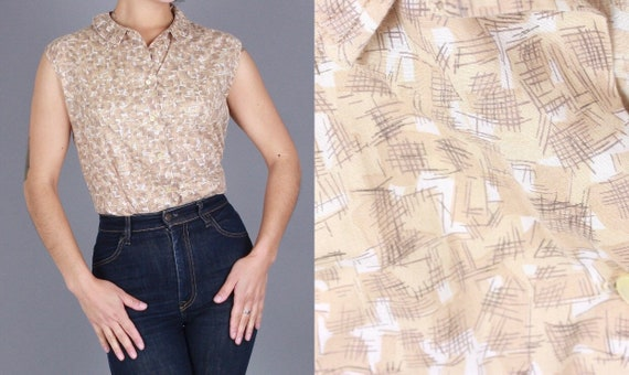 1950s sleeveless blouse/ Vintage Jeanies by Blie B