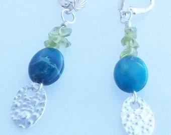 Silver Oval Drops With Chrysacola and Peridot on Sterling Silver Leverback Earrings