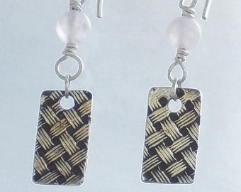 Sterling Silver Rectangular Basket Weave Earrings with Rose Quartz Bead