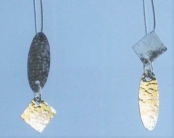 Silver Asymetrical Earrings with Hammered Texture