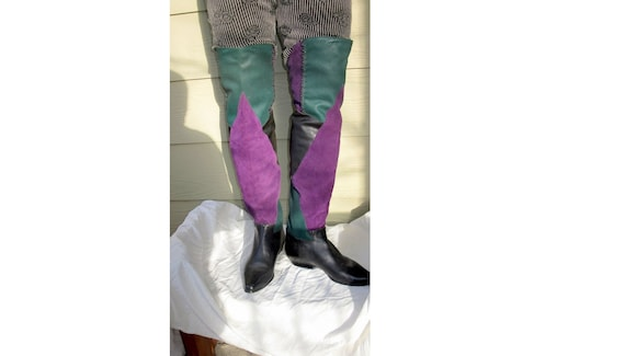 80s thigh high boots, leather patchwork knee boots
