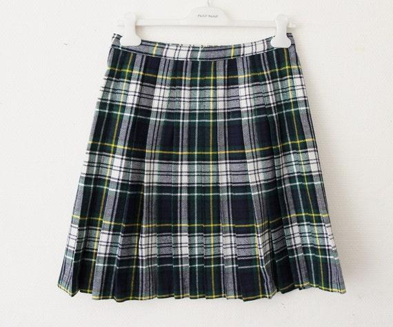 9fd134796 60s 70s plaid skirt wrap around green blue tartan wool high | Etsy