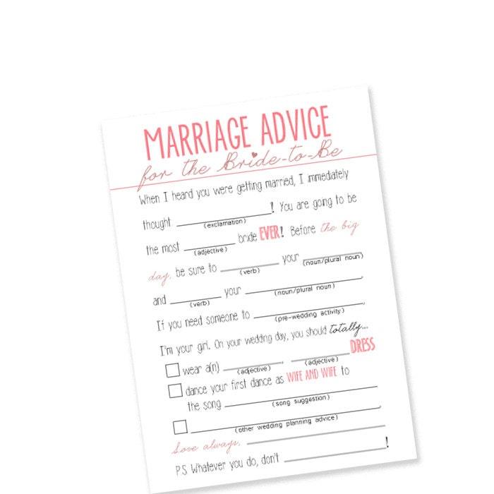 Same Sex Printable Mad Lib Bridal Shower Gamepink Etsy