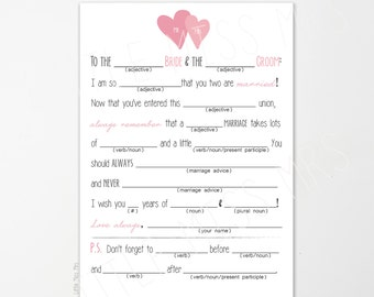 Printable Mad-lib Wedding Advice cards in turquoise, pink or gold brown