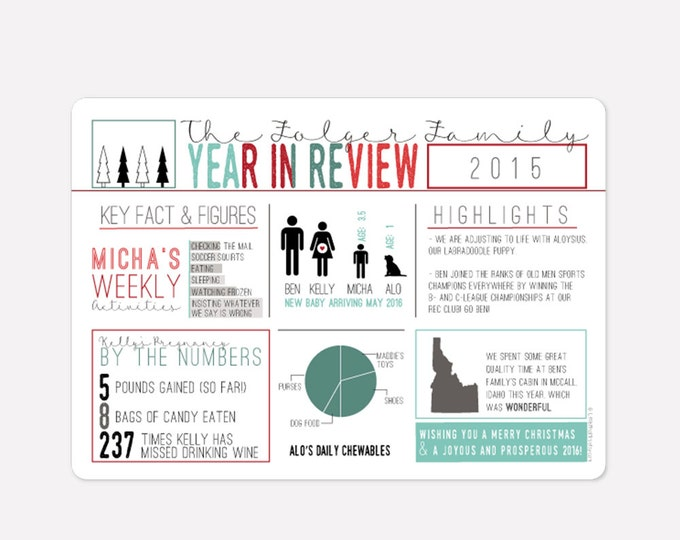 Featured listing image: Infographic Photo Holiday Card - Year in Review - Include photo on back