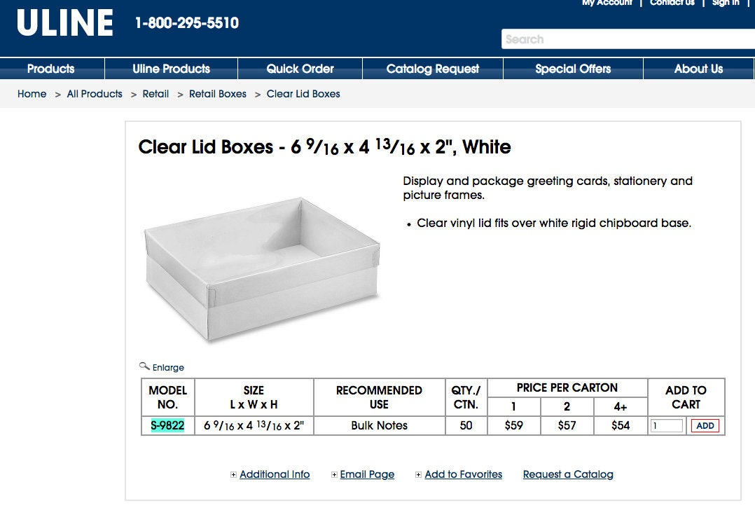 50 Off Uline Clear Lid Boxes 6 916 X 4 1316 X 2 White