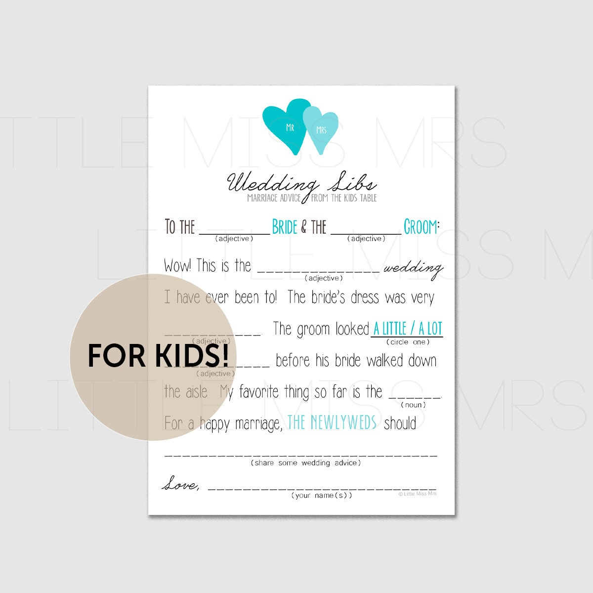 Marriage Advice From The Kids Table Printable Mad Lib Wedding