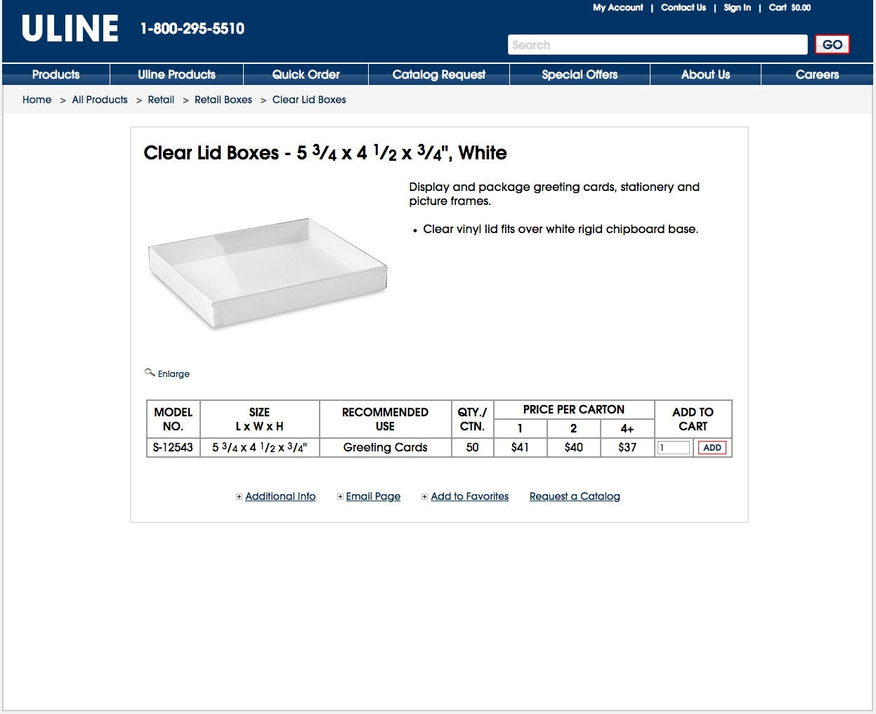 Save Over 50 Uline Clear Lid Retail Boxes 5 34 X 4 12 X 34