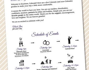 Printable Wedding Welcome Letter - Timeline of Events - Weekend Itineraries  - wedding weekend schedule of events for wedding guests