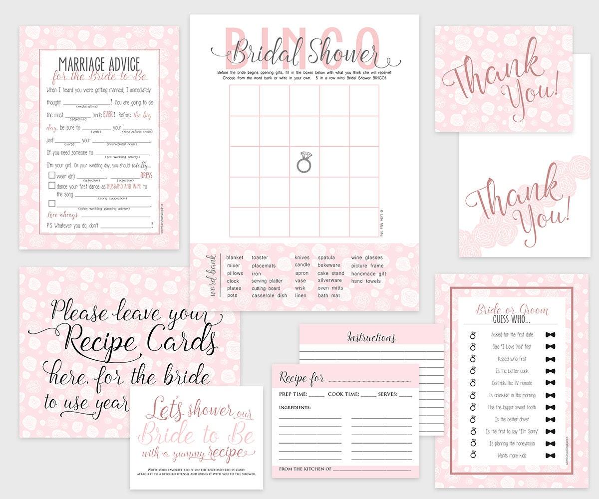 bridal shower bundle instant download printable bridal shower games recipe card signs thank you cards