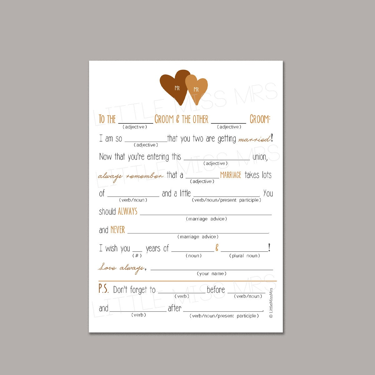 Two Grooms Printable Mad Lib Wedding Advice Cards For The Grooms