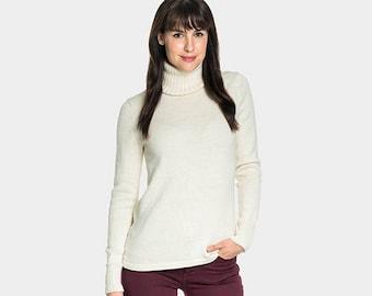 Baby Alpaca Roll Neck Jumper | Wool Roll Neck Sweater | Natural Ivory Roll Neck Jumper