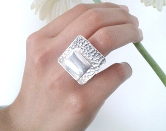 Sterling Silver Geometric Textured Ring | Sterling Silver Hand Hammered Ring