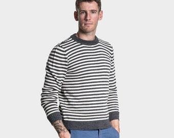 Alpaca Wool Blend Crew Jumper | Striped mens alpaca sweater | Wool Jumper Men