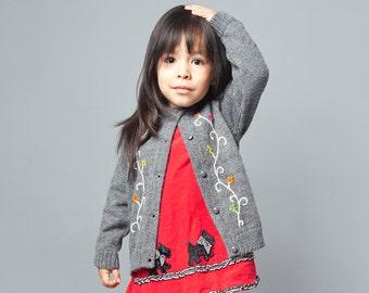 Alpaca Wool Blend Amelie Toddler Cardigan | Wool Blend Girl Cardigan | Knitted Girl Sweater