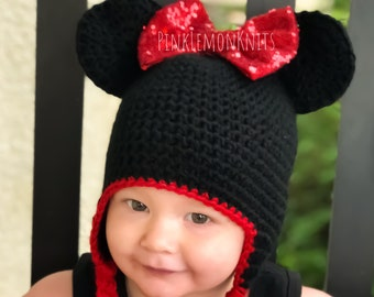 Crochet Minnie Mouse hat, girl mouse hat, photography prop, baby, toddler, child, adult, sequin bow, shower birthday gift