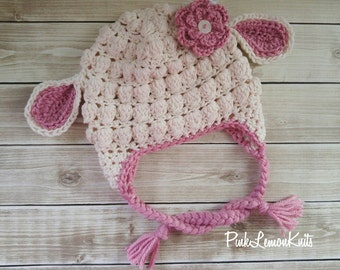 Lamb hat, crochet lamb hat, baby photo prop, baby winter hat, baby animal hat, girl winter hat, cream pink lamb hat, girl