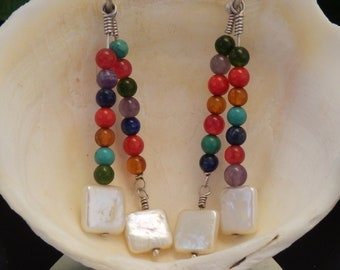 Square Pearl and Gemstones