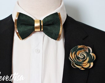 EMERALD GREEN GOLD satin wedding ideas for groomsmen double layered bow tie gold suspenders weddings boutonnieres toddler infant golden tie