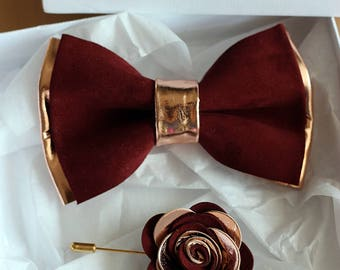 839311c80dfb Rose Gold and burgundy leather bow tie for men, rose gold wedding bow tie, wedding burgundy boutonnere, genuine rose gold leahther bow tie