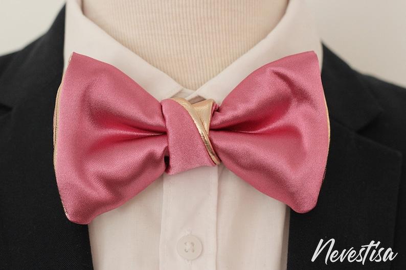 prom boys dusty rose blush satin formal groomsmen bowtie Pink bow tie set men hot pink bow tie for men,rose gold wedding suspenders set