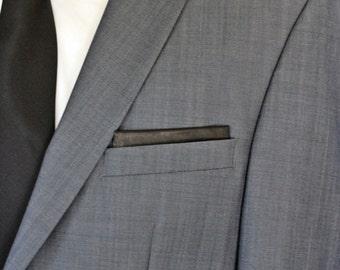 Elegant Black leather pocket square, Pocket Square card, shinny leather pocket square, mens gift, pocket handkerchief, mens gift