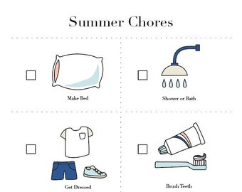 Summer Chore Chart downloadable PDF for kids