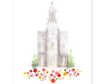 Logan Utah LDS Temple - watercolor - print - Giclee - gold foil