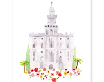 St. George LDS Temple - watercolor - print - Giclee - gold foil