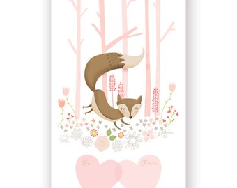 """Set of 12 - Little Fox in the Woods Valentine printed Postcards - 3"""" x 5"""" - unique and cute"""
