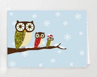 Christmas Owls Greeting Card - Printable digital file - Instant Download