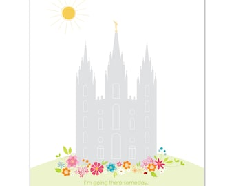 LDS Temple Printable file - 16 x 20 inch - Printable digital file - Instant Download - Summer