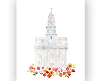 LDS Nauvoo Temple Print - Giclee - Watercolor - gold foil - unframed