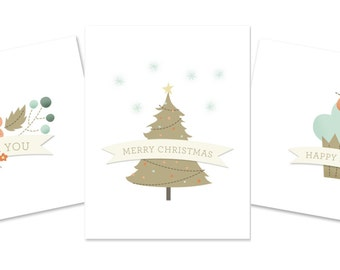 Birthday, Christmas, and Thank You cards - 5.5x4.25 - Printable - digital file - Instant Download