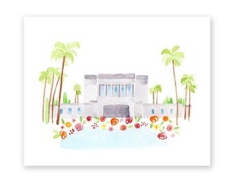 LDS Mesa Arizona Temple Print - Giclee - Watercolor - gold foil - unframed