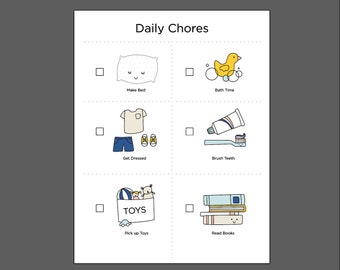 Toddler Daily Chore Chart downloadable PDF for kids