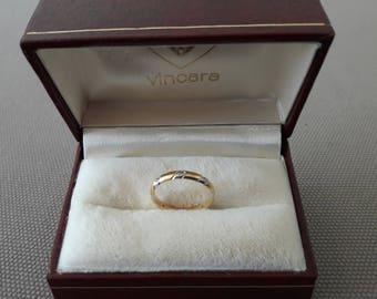 Yellow Gold 18K white gold wedding band ring bright