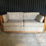 Reserved for Inness - Milo Baughman Style Brass and Wood Case Loveseat