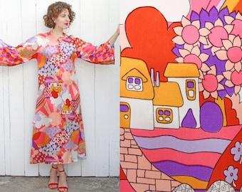 Vintage 70s Dress   70s Rare One of a Kind Peter Max Inspired Print Maxi Tunic Dress Pink Purple Orange   Small S Medium M