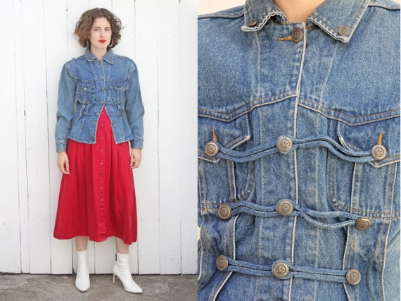 64a3c5b3ee Vintage 80s Jacket 80s Classic Wash Denim Sgt Pepper Style