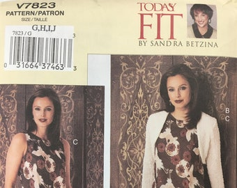 """V1297 Vogue Sewing Pattern Today/'s Fit Sandra Betzina Loose Fitted Dress B32-55/"""""""
