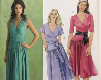 6d260ebad0 Butterick B5027 Pattern Dress with Front Wrap and Belt 5027 Women s Size  8-10-12-14 uncut factory folded 2007