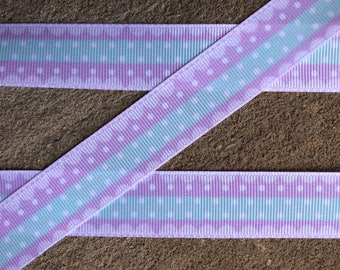 Grosgrain Ribbon 38 inch Lavender White Polka Dots Wedding Easter THREE yards