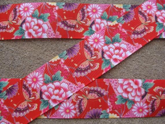 "5 yards Pink /& teal floral printed 1/"" grosgrain ribbon by the yard DIY hair bow"
