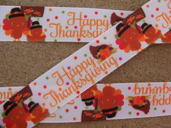 "3 yards 7//8/"" Turkey Thanksgiving Grosgrain Ribbon DIY Hair Bow"