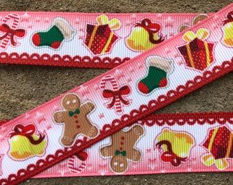 """3 yards Red Winter ribbon Christmas Ribbon Christmas ornaments ribbon 1"""" Christmas gifts Grosgrain Ribbon Hair Bow Ribbon Snowman Ribbon"""