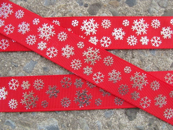"3 Yards Pink Winter Silver Printed Snowflakes Christmas Satin Ribbon 1 1//2/""W"