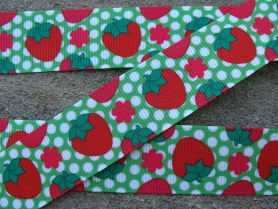"3 yards 7//8/"" Pink Strawberry Grosgrain Ribbon DIY Hair Bow"