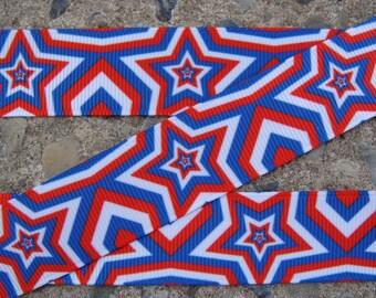 """3 yards 4th of July Ribbon Color Stars Ribbon 7/8"""" Ribbon Printed Ribbon Hair Bow Ribbon Holiday Ribbon"""